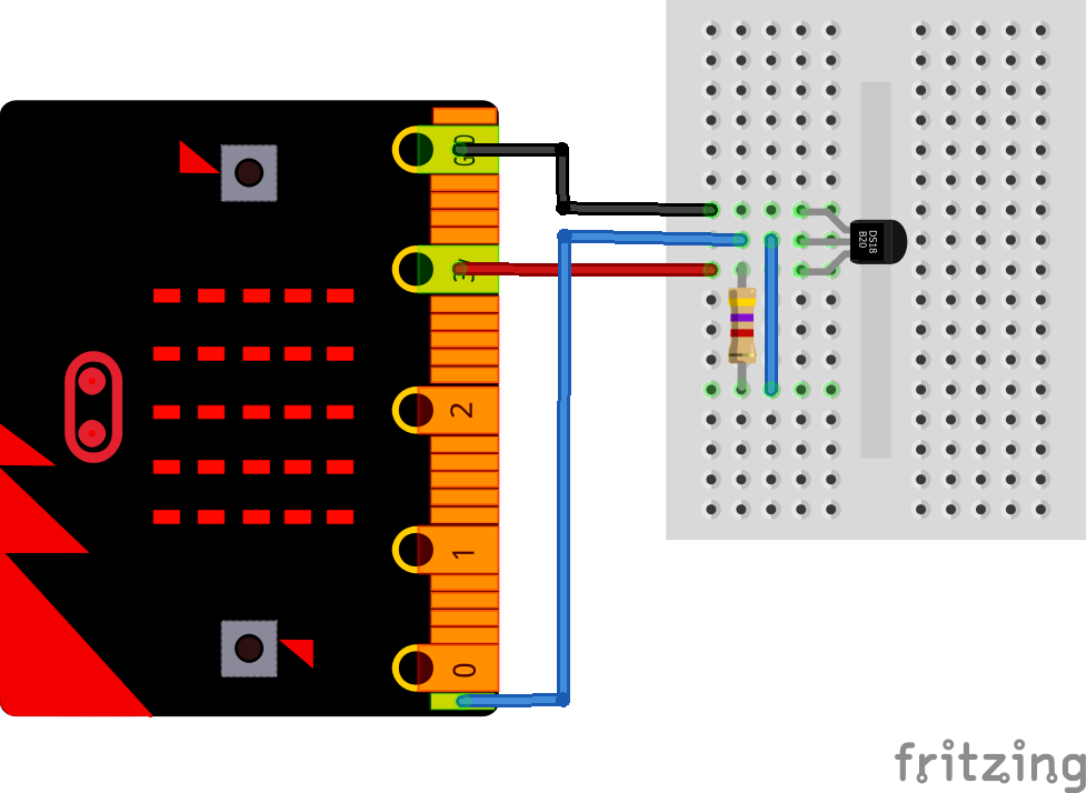 microbit and ds18b20