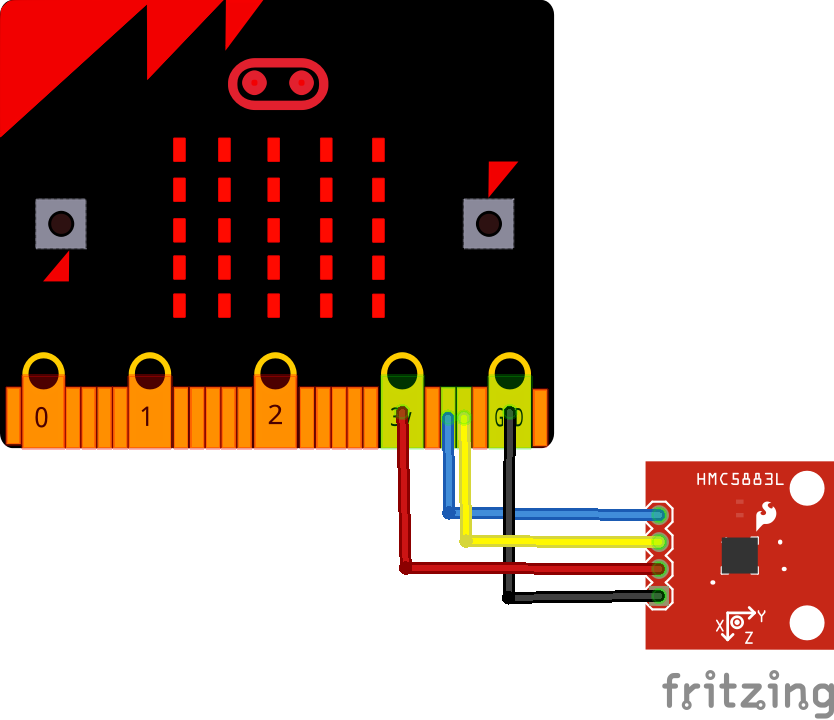 micro:bit and HMC5883L magnetometer example   Microbit learning