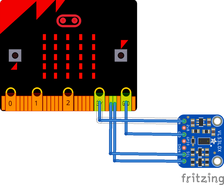 VL53L0X Time-of-Flight sensor and micro:bit example