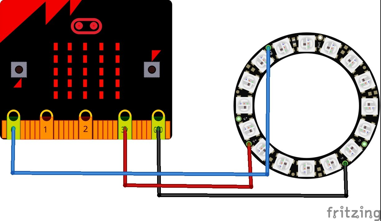 Micro:bit and NEOPIXEL ring make:code examples | Microbit
